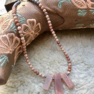Pink Quartz short necklace.  18' long